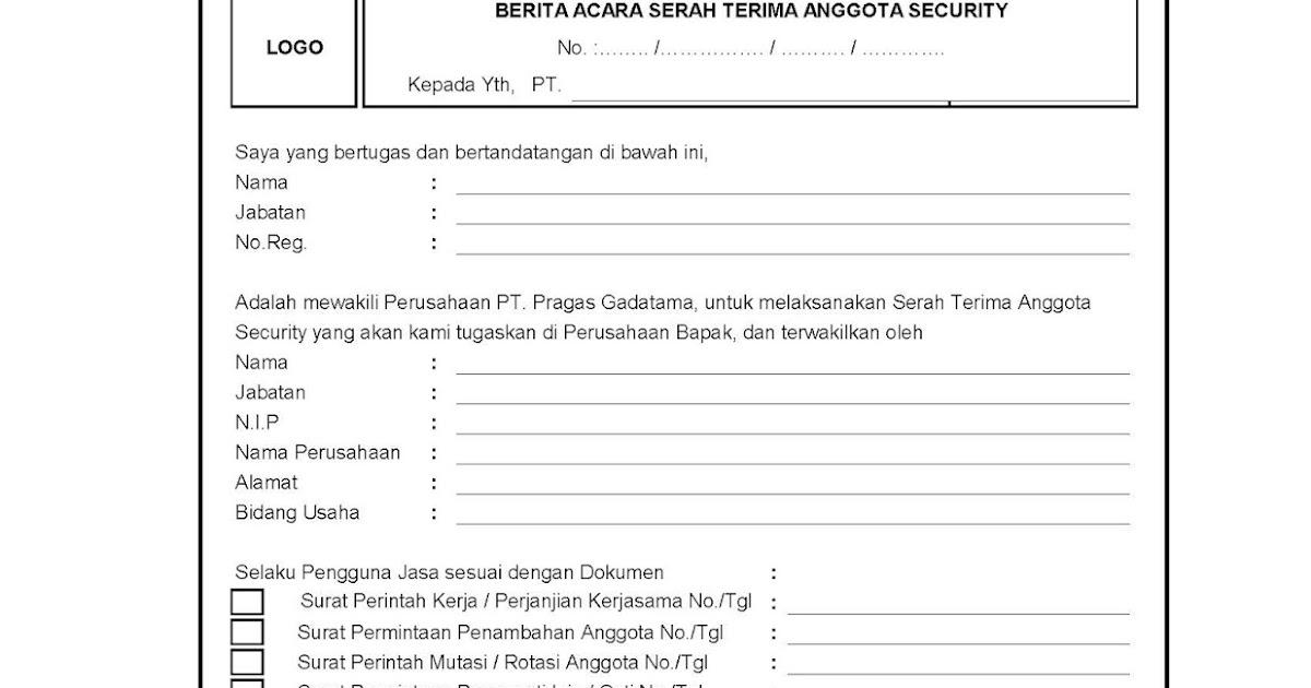 Contoh Surat Mutasi Satpam Download Kumpulan Gambar