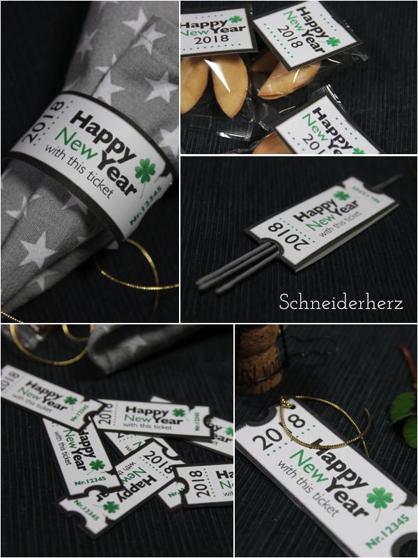 Wunderkerzen Glueckskekse Serviettenringe Silvester DIY Verpackung Deko