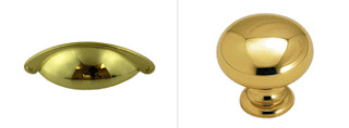 matching cup pull and knob - bright brass