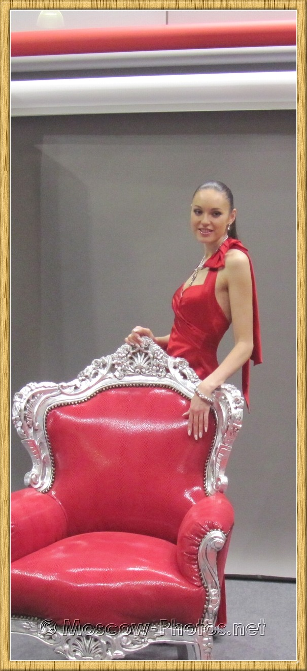 Nice Model. Red Dress. Red Сhair.