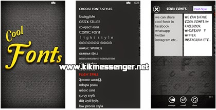 Cool Fonts Free para Windows Phone con Kik Messenger