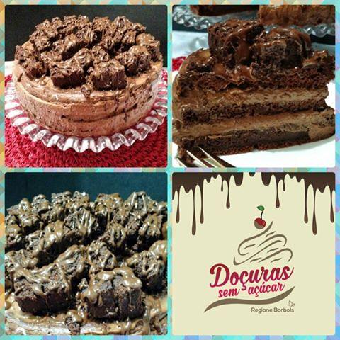 Bolo Diet Chiffon de Chocolate com mousse e brownie por Rafael Barros