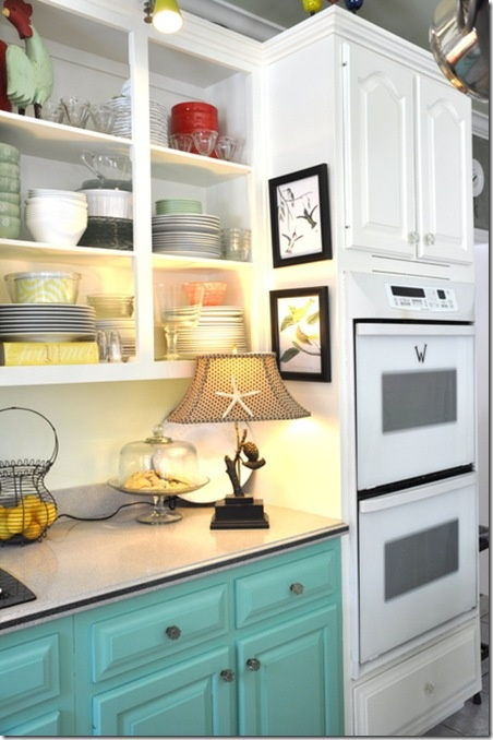 This southern coastal kitchen cabinet design looks great with some added accent lighting