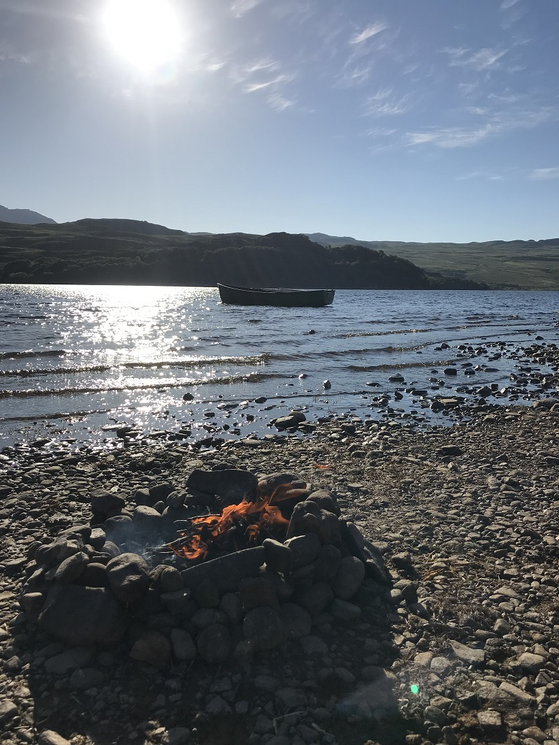 Fire pit, Wild camping at Loch Hope