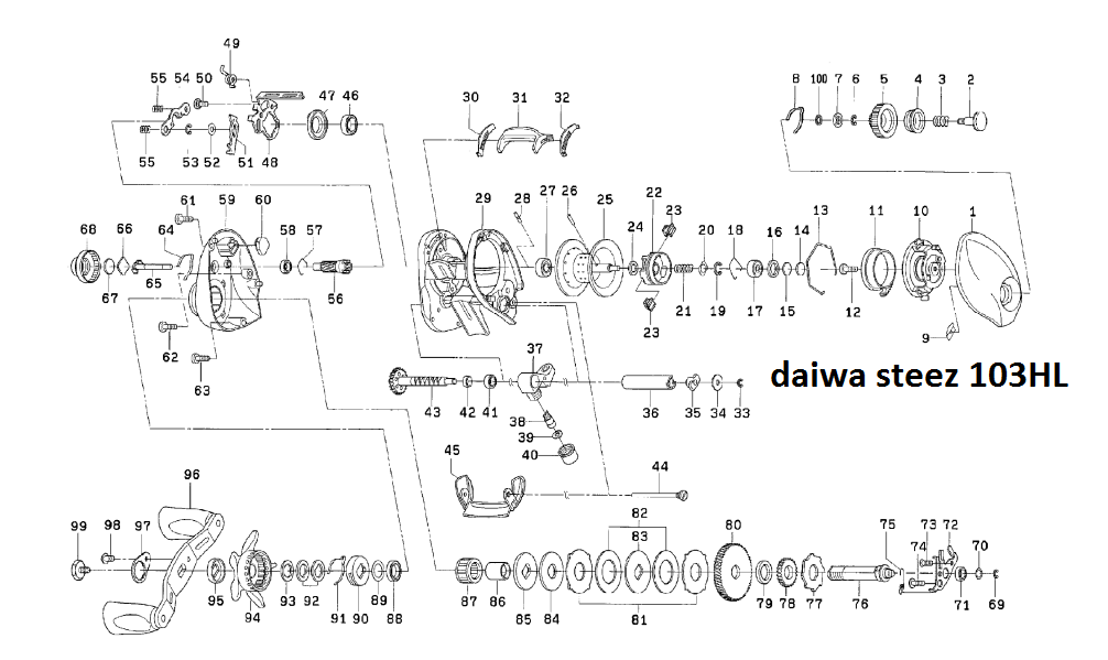 most complete fishing reels schematics : daiwa s 100 & 103 ... on