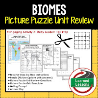 Biomes, World Geography Picture Puzzle BUNDLE, Test Prep, Unit Review, Study Guide