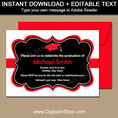 graduation party invitations in white, black, red - instant download party printables