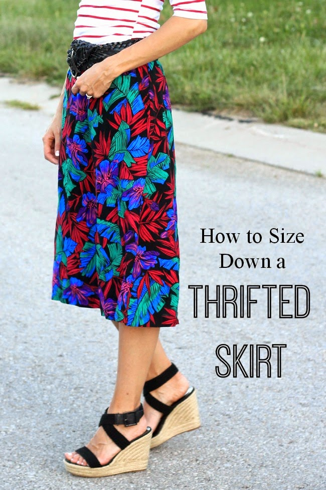 How to size down a skirt that is too large for you- easy tutorial from ONE little MOMMA