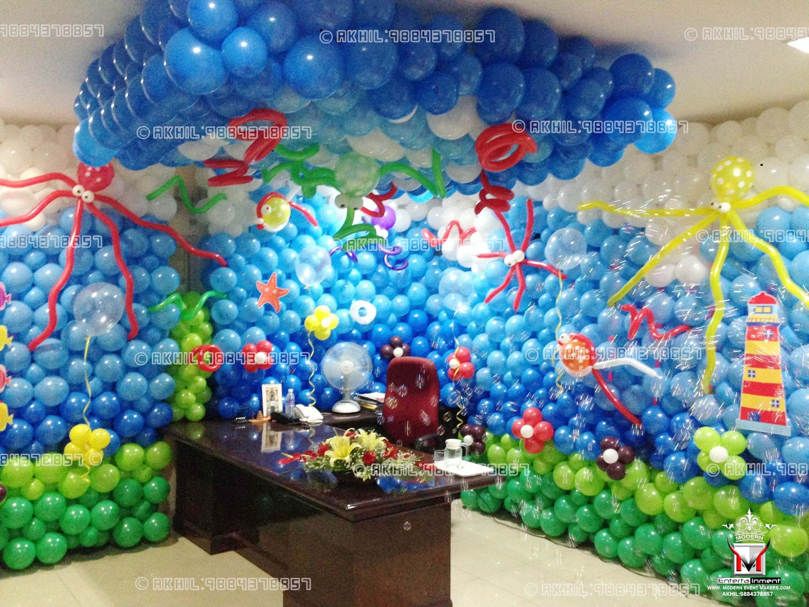 Event management company balloon decoration modern for Balloon decoration for birthdays