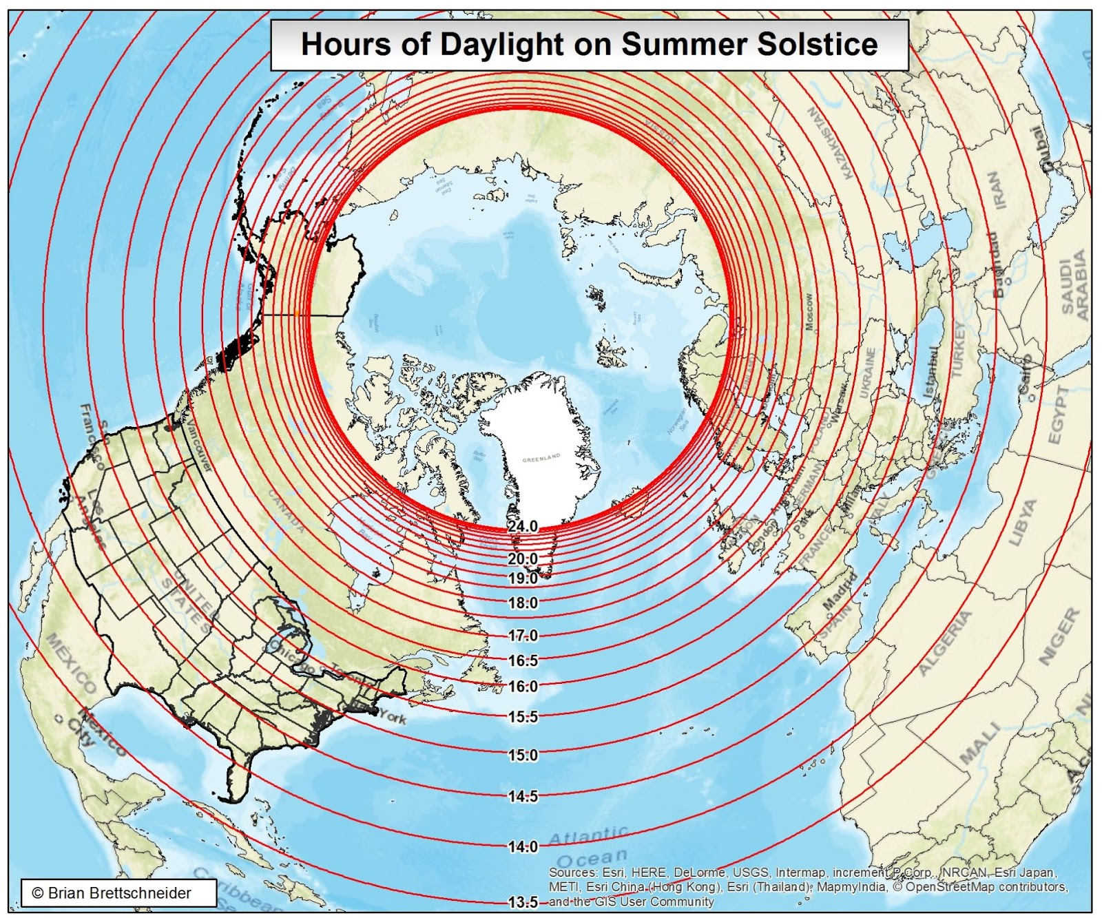 Hours of Daylight on the Summer Solstice