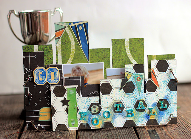 Football Mini Album Frame by Elena Olinevich using BoBunny Game On Collection