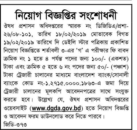 Directorate General of Drug Administration (DGDA) Job Circular 2019