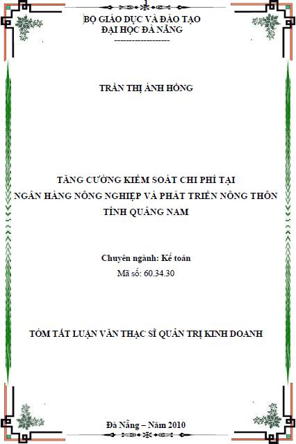 Tăng cường kiểm soát chi phí tại ngân hàng nông nghiệp và phát triển nông thôn tỉnh Quảng Nam