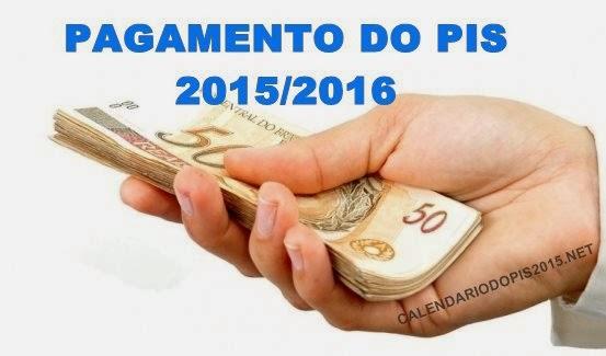 Pagamento do PIS 2015/2016