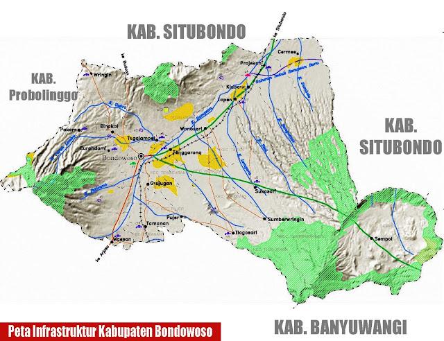 Gambar Peta infrastruktur Kabupaten Bondowoso