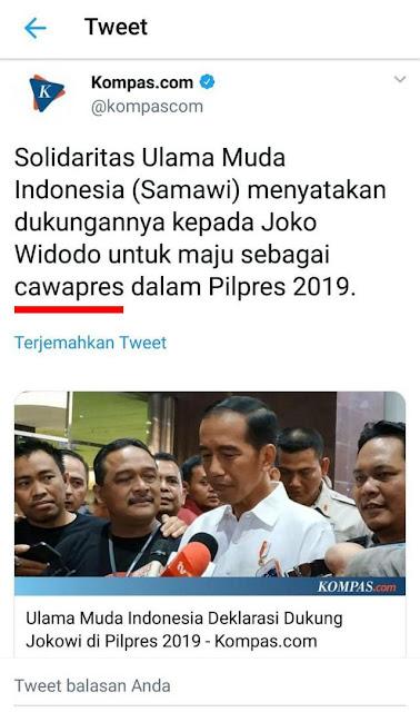 "Kocak! Jokowi Turun Pangkat, Kompas Tulis Jokowi Didukung Ulama Muda Sebagai ""Cawapres"""