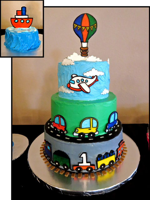 Transportation Themed 1st Birthday Cake & Smash Cake - Hot Air Balloon, Airplane, Cars, Train, & Boat