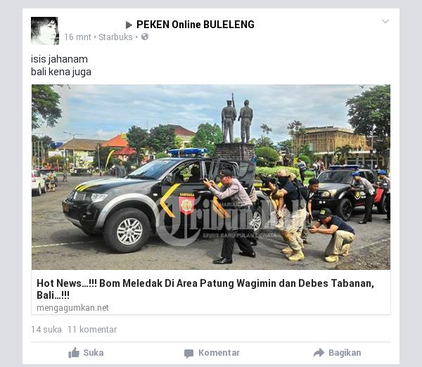 Bom Meledak di Area Patung Wagimin dan Debes Tabanan