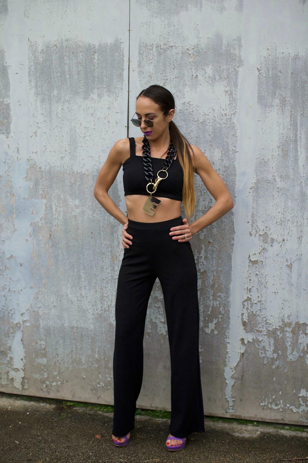 pantalone vita alta nero