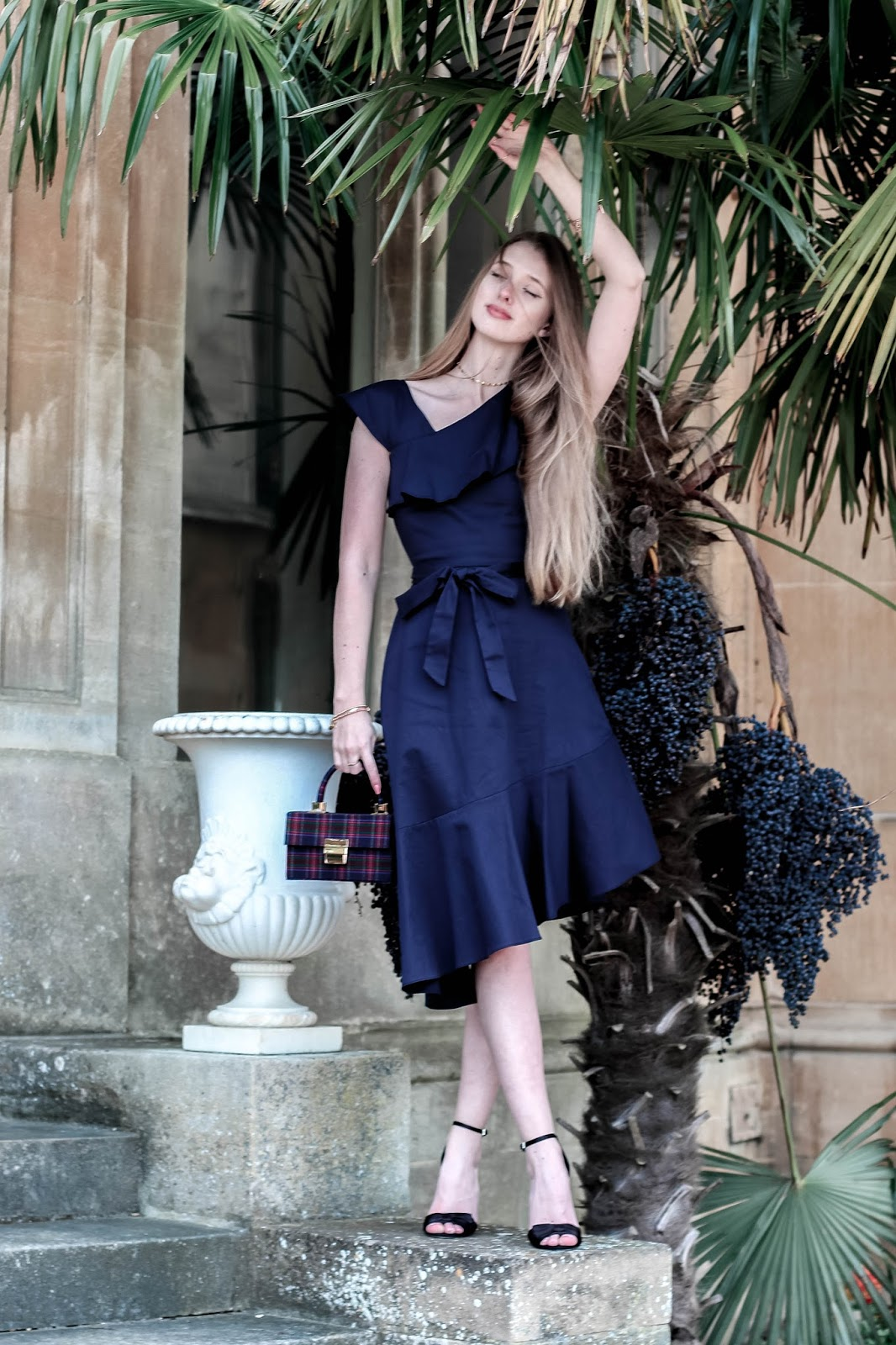 Coast Jade Navy Blue Ruffle Asymmetrical Dress