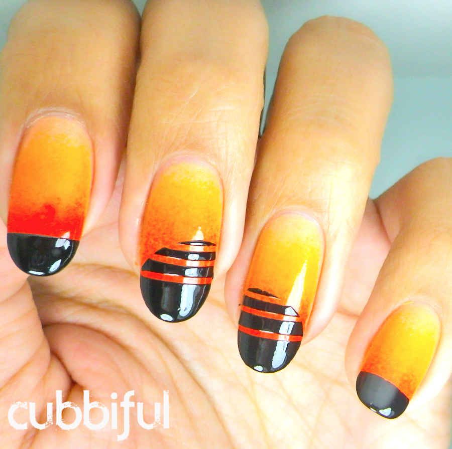 orange gradient nails