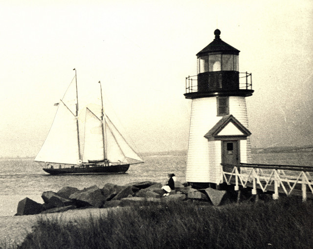 Brant Point Lighthouse, c. 1940. The ninth Brant Point Lighthouse was built in 1901 and remains there today. Photo by James Barker. Source: Nantucket Historical Association