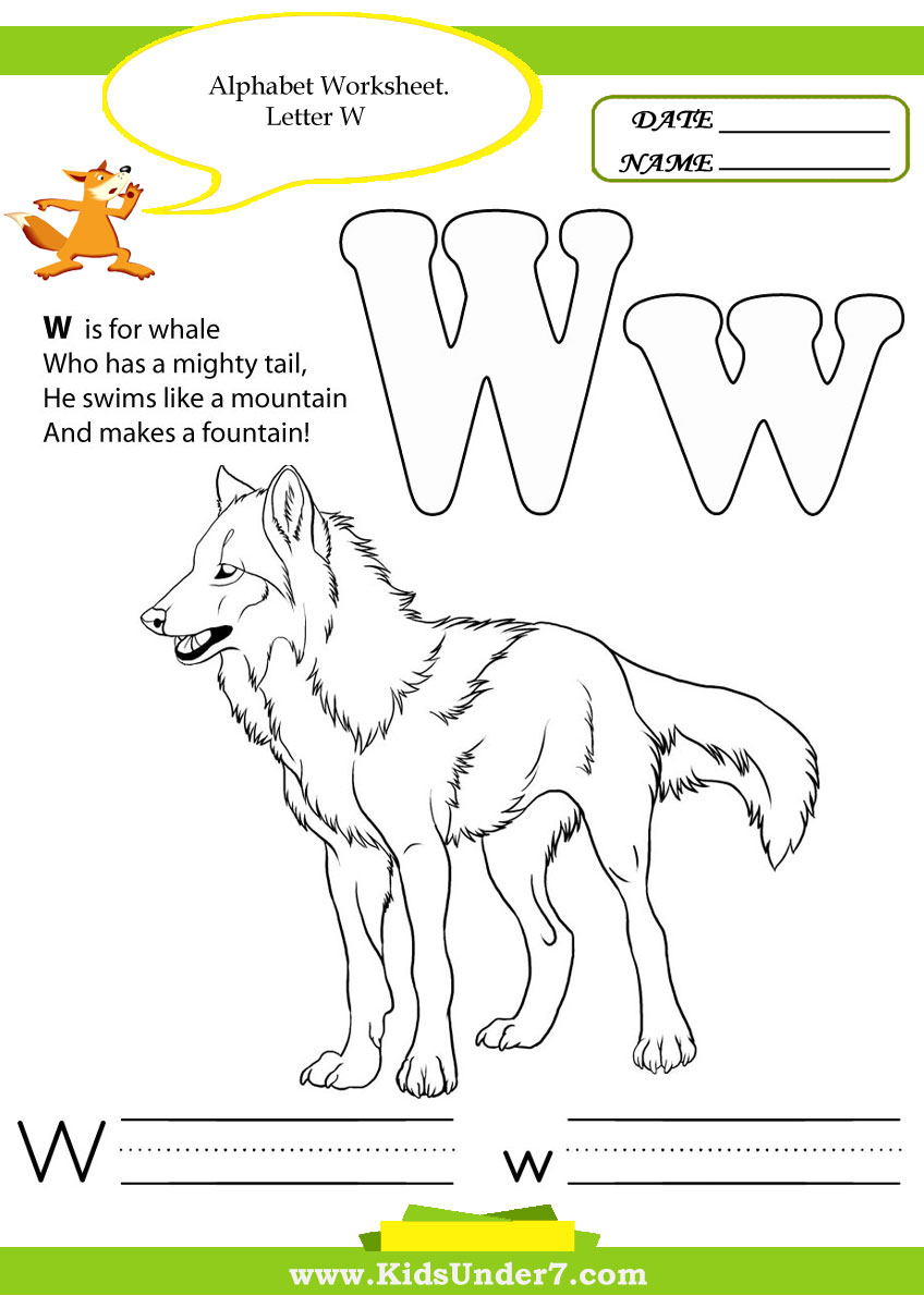 Workbooks letter w worksheets for preschool : Kids Under 7: Alphabet Handwriting Worksheets A to Z