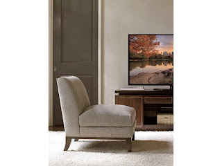 armelss chair in neutral living room