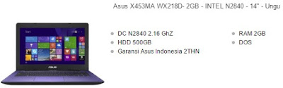 laptop asus 14 inchi x453ma ungu