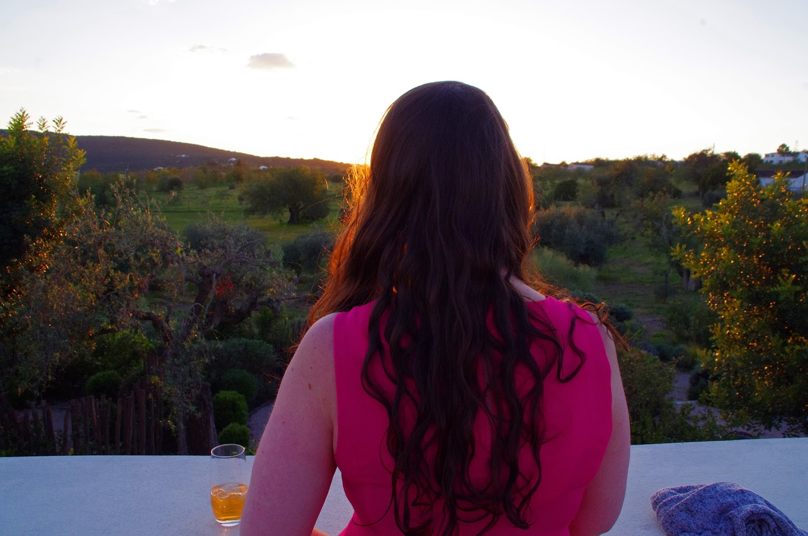 Simone at Fazenda Nova Country House at sunset