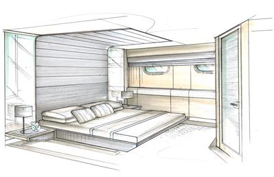Lakaran Interior Design Bilik Tidur Menggunakan Dua Ik Perspektif