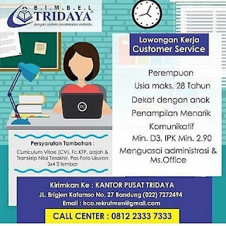 Lowongan Kerja Bimbel Tridaya Bandung 2019 SMA SMK D3 S1