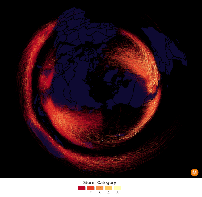 Every recorded hurricane, cyclone, and typhoon since 1850