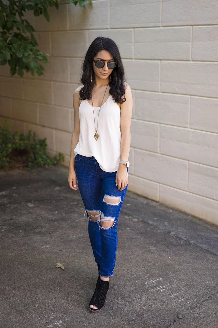 lucky brand larise booties, grana silk cami, cluse la boheme watch, zara ripped jeans