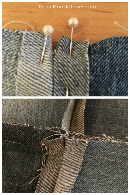 pinning seams of denim quilt