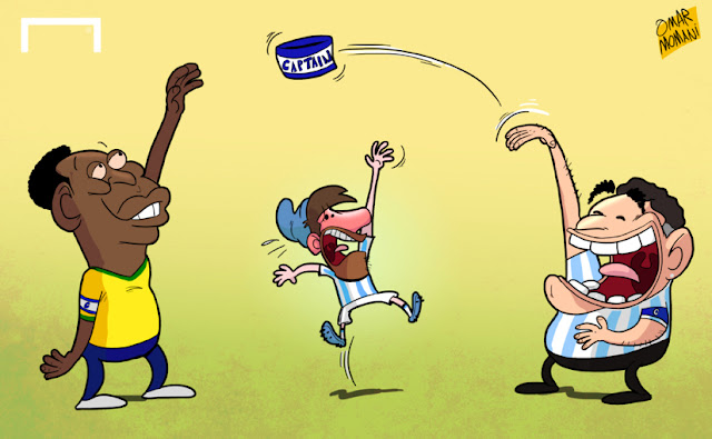 Pele & Maradona play with Messi's captain armband