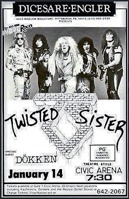 Poster ad for that Pittsburgh show and ticket stub above from January 14, 1986