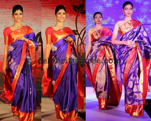 Purple Saree with Red Combination