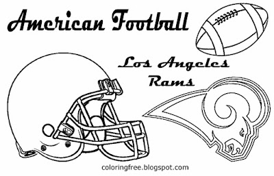 Los Angeles Rams printable American West football drawing art pictures for schoolboys USA team games