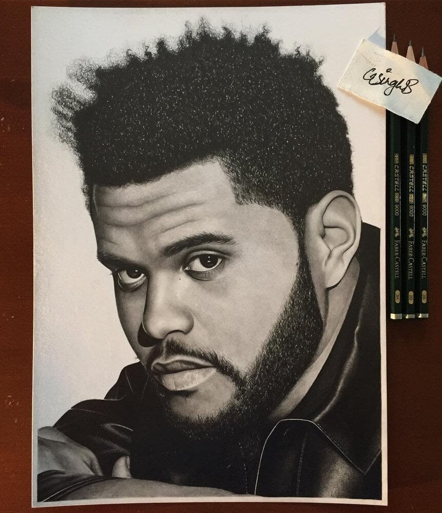 07-The-Weeknd-Gurekbal-Bhachu-Realistic-Celebrity-Portraits-Drawings