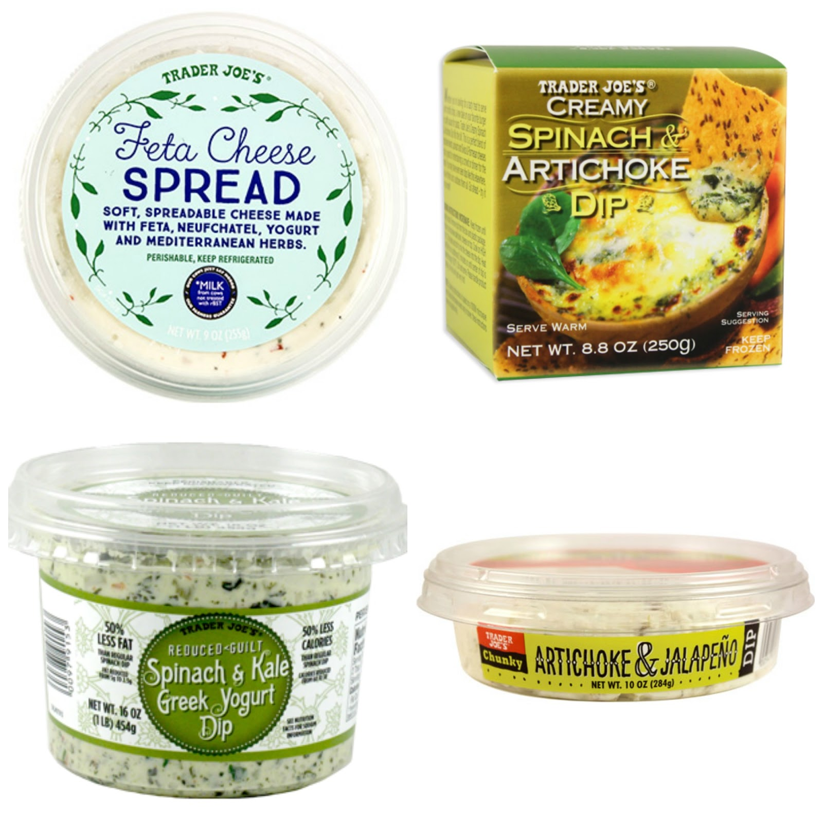 Feta cheese dip, artichoke and spinach dips from Trader Joe's