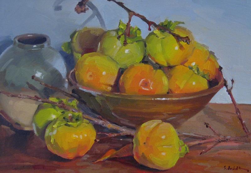 Sedwick Studio Quot Ripening Persimmons Quot Art Still Life Fruit