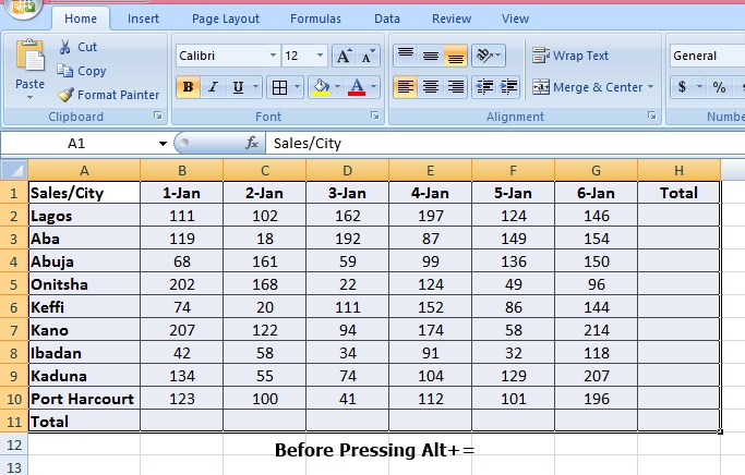 sum data in Microsoft Excel