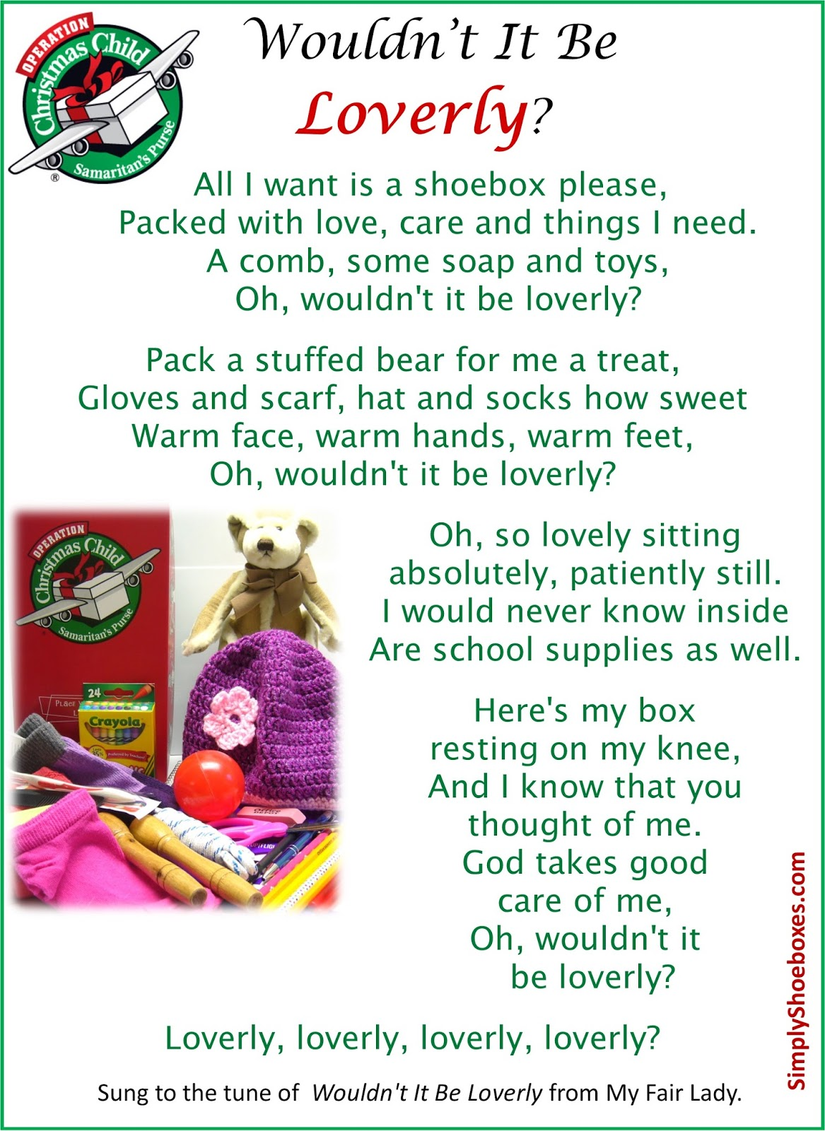 Simply Shoeboxes: Wouldn\'t It Be Lovely? What a Needy Child Might ...