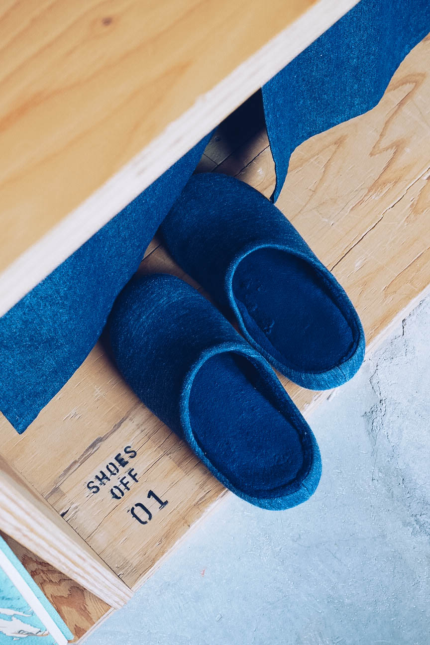 Free slippers to use at Book and Bed hostel