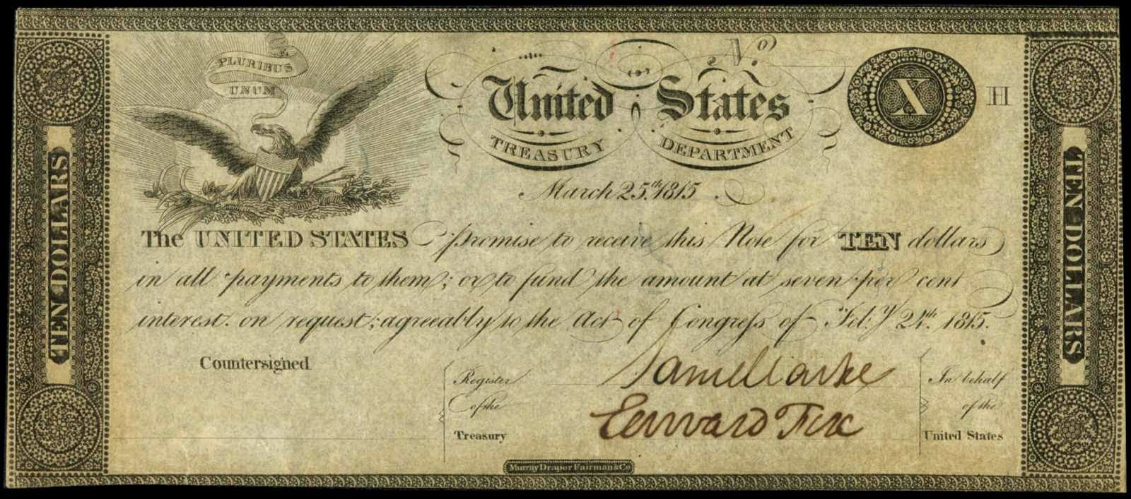 US currency 10 Dollar Treasury Note 1815