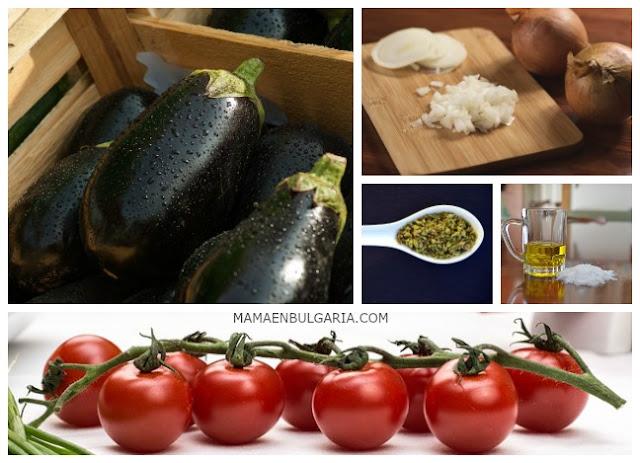 Ingredientes patladzhán berenjena tomate