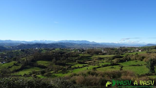 Desde el Área de la Ería, Siero, vista hacia el centro de Asturias