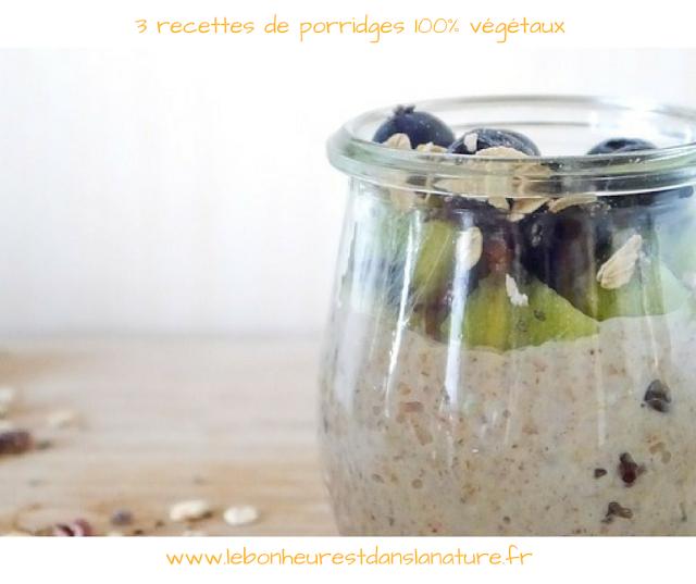 petit déjeuner santé enfants adultes végétal vegan porridge