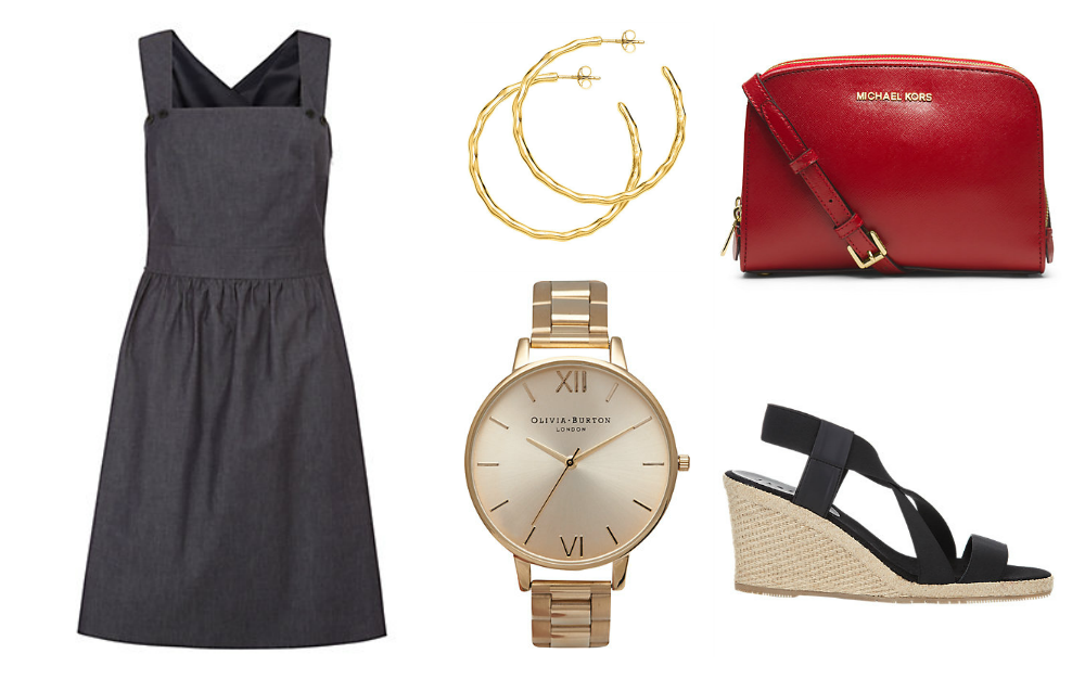 chambray dress, gold watch, gold hoop earrings, red bag and espadrille sandals